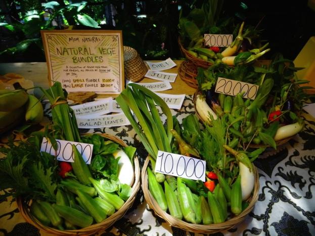 Vegetable bundles from Komang's farm in Mas